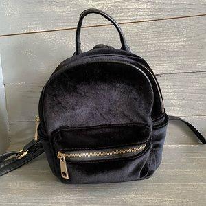Urban Outfitters Black Velvet Mini Backpack